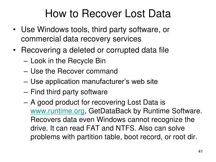 How to Recover Lost Data