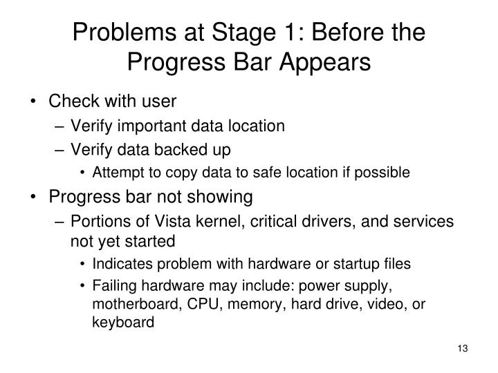 Problems at Stage 1: Before the Progress Bar Appears