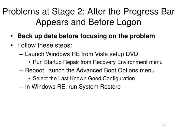 Problems at Stage 2: After the Progress Bar Appears and Before Logon