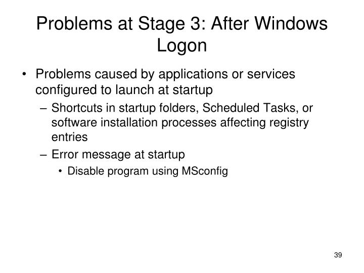 Problems at Stage 3: After Windows Logon