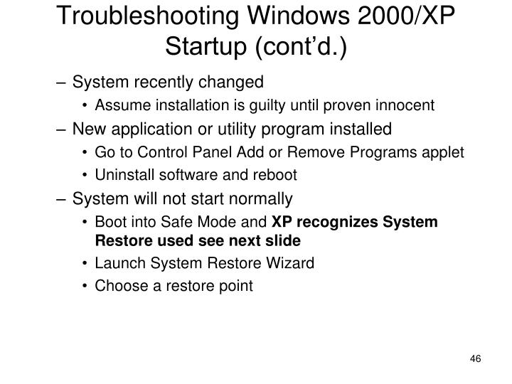 Troubleshooting Windows 2000/XP Startup (cont'd.)