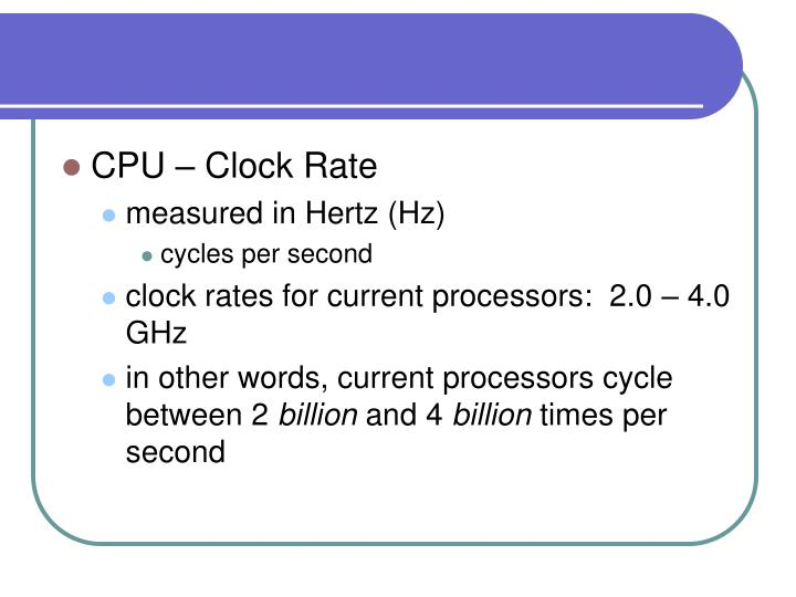 CPU – Clock Rate
