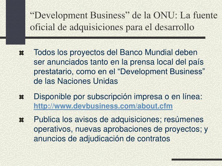 """""""Development Business"""" de la ONU: La fuente oficial de adquisiciones para el desarrollo"""