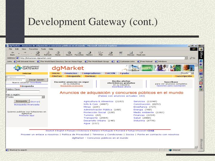Development Gateway (cont.)