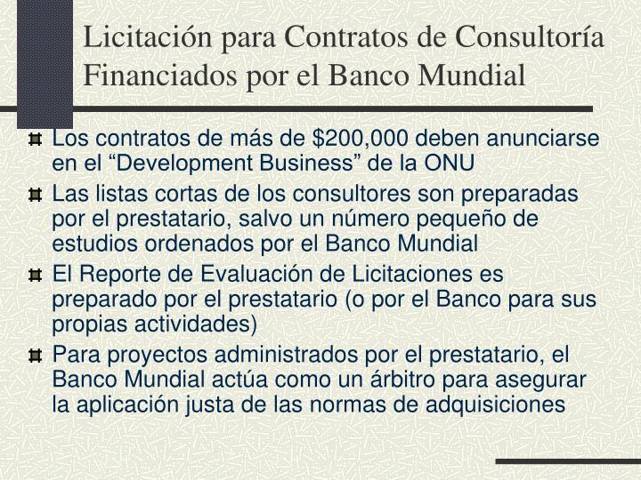 Licitación para Contratos de Consultoría Financiados por el Banco Mundial