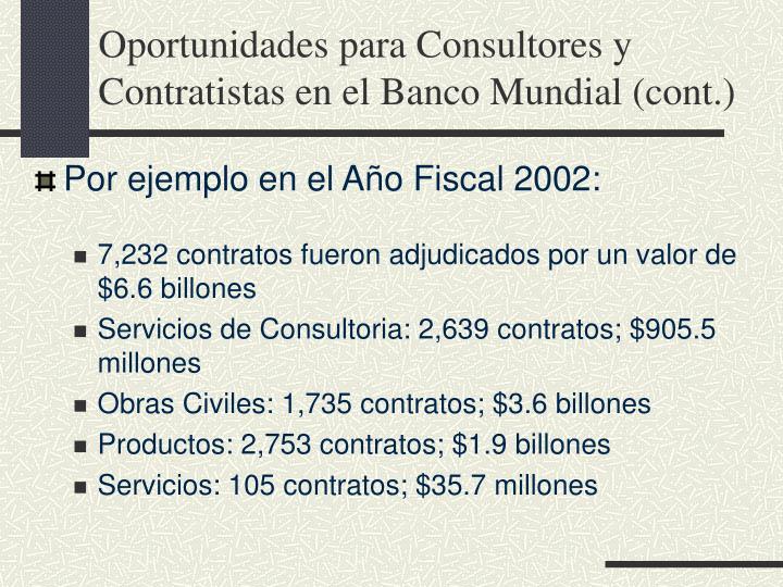 Oportunidades para Consultores y Contratistas en el Banco Mundial (cont.)