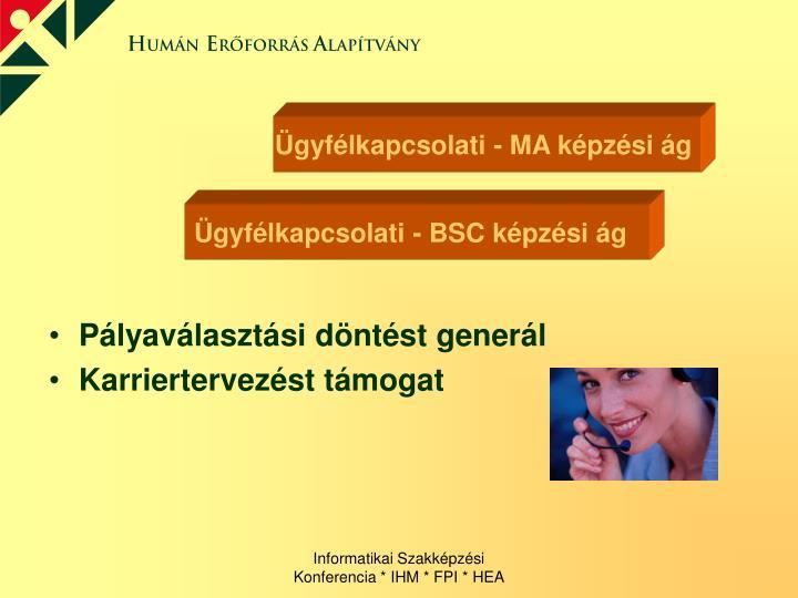 Ügyfélkapcsolati - MA képzési ág