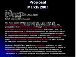 proposal march 2007