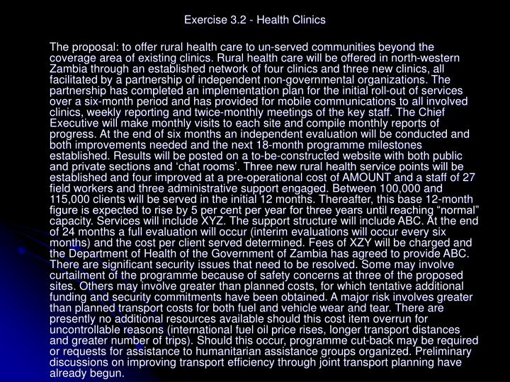 Exercise 3.2 - Health Clinics