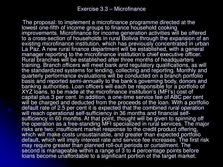Exercise 3.3 – Microfinance