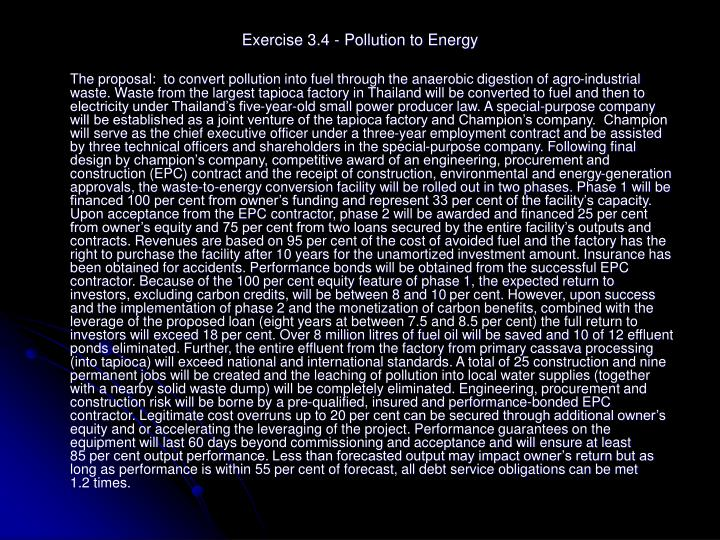 Exercise 3.4 - Pollution to Energy
