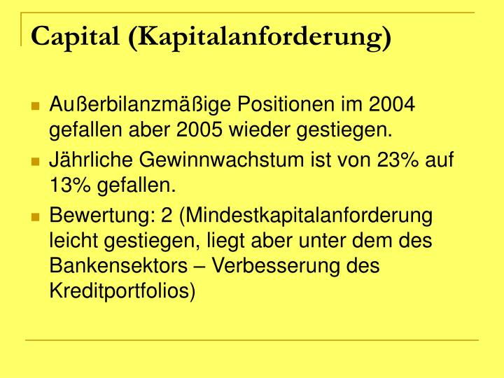 Capital (Kapitalanforderung)