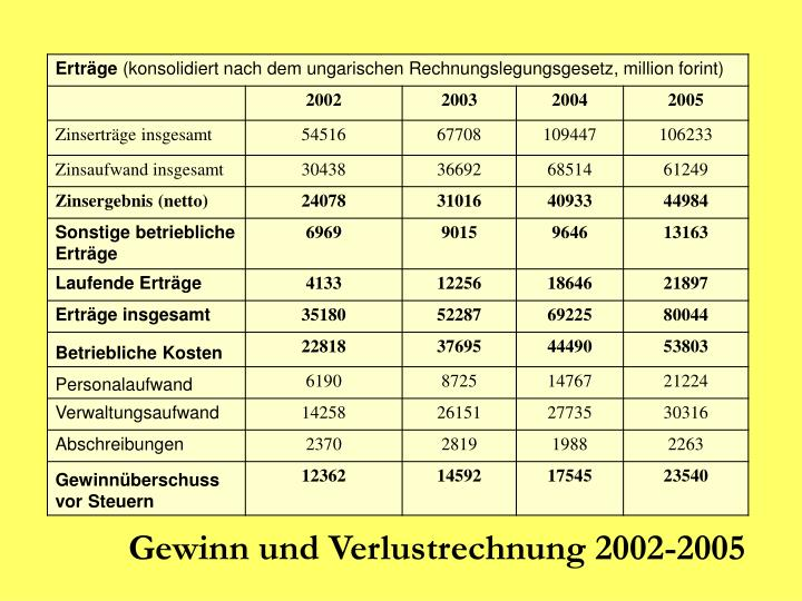 Gewinn und Verlustrechnung 2002-2005