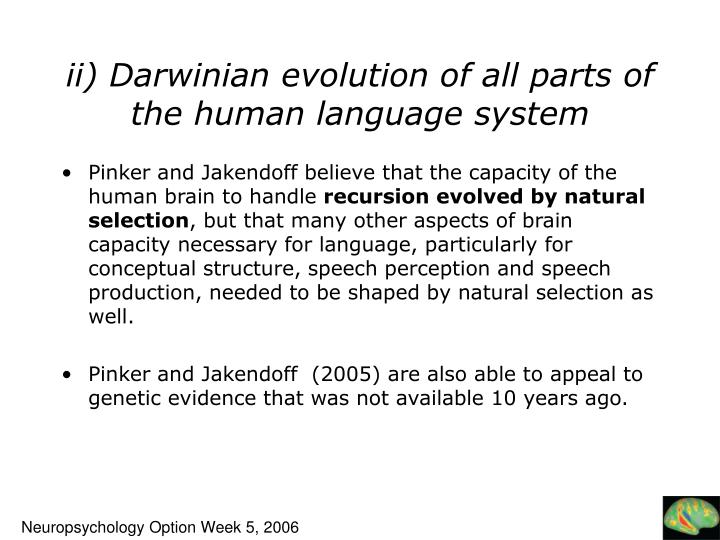 ii) Darwinian evolution of all parts of the human language system