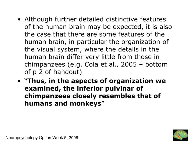 Although further detailed distinctive features of the human brain may be expected, it is also the case that there are some features of the human brain, in particular the organization of the visual system, where the details in the human brain differ very little from those in chimpanzees (e.g. Cola