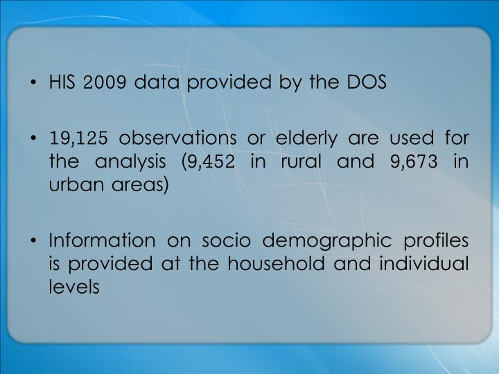 HIS 2009 data provided by the DOS