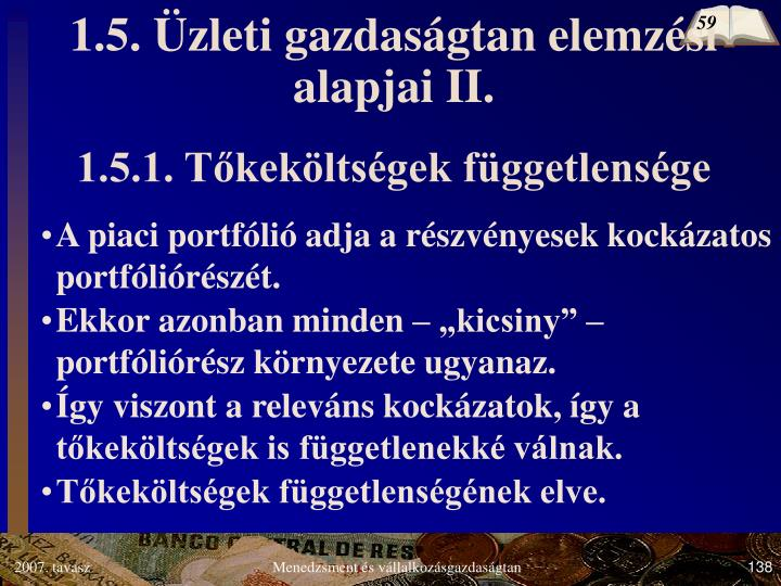 1.5. Üzleti gazdaságtan elemzési alapjai II.