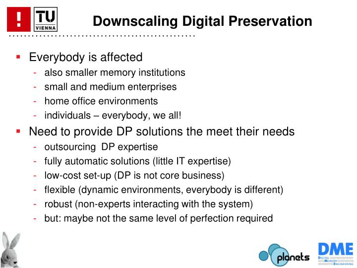 Downscaling Digital Preservation