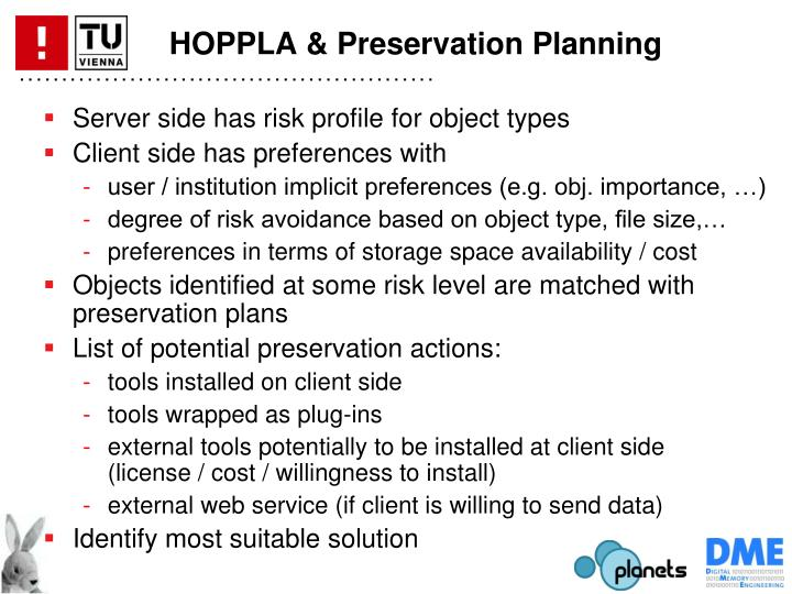 HOPPLA & Preservation Planning