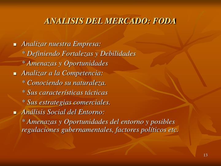 ANALISIS DEL MERCADO: FODA