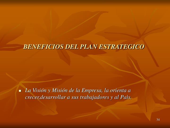 BENEFICIOS DEL PLAN ESTRATEGICO