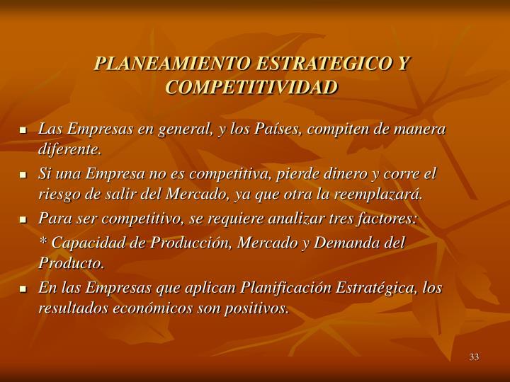 PLANEAMIENTO ESTRATEGICO Y COMPETITIVIDAD