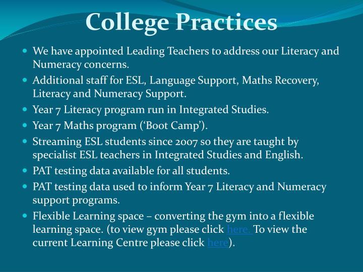 College Practices