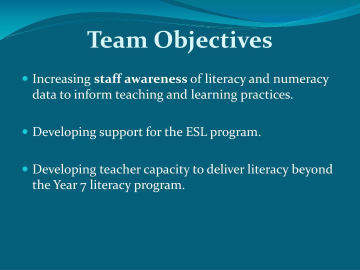 Team Objectives