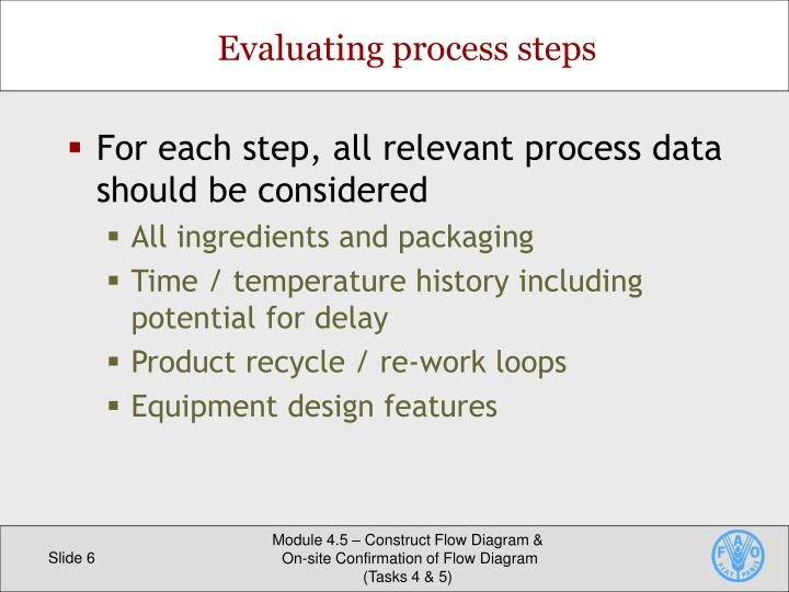 For each step, all relevant process data should be considered