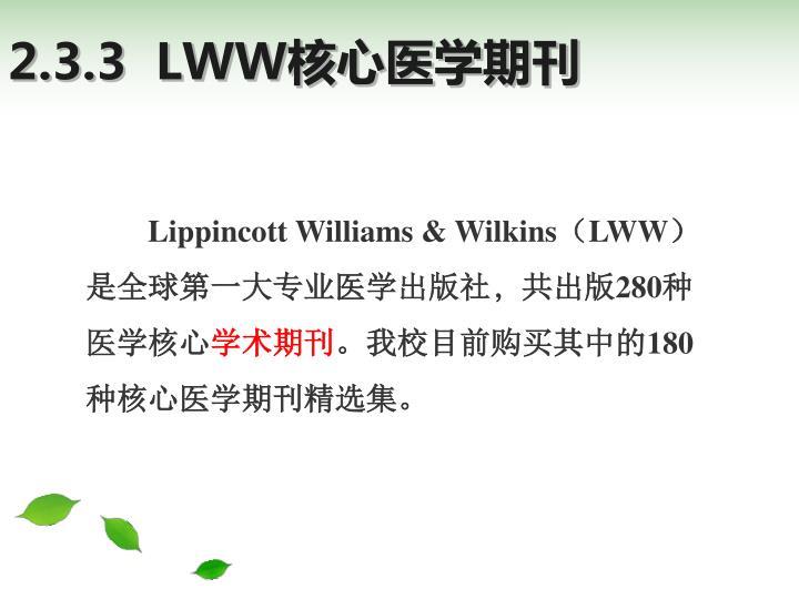 2.3.3  LWW