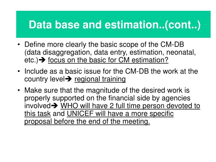 Data base and estimation..(cont..)
