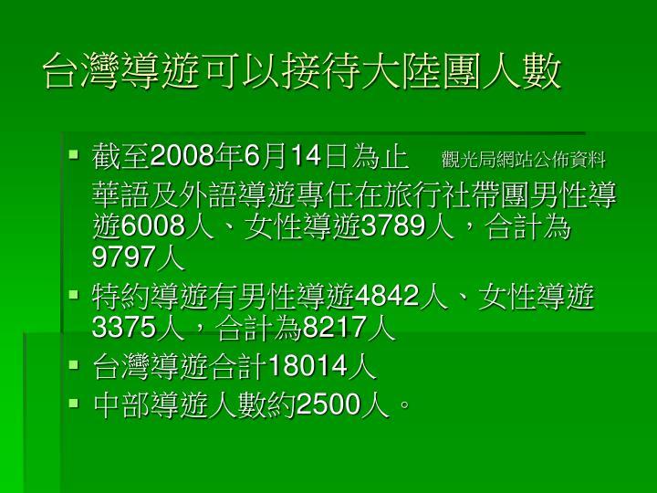 台灣導遊可以接待大陸團人數