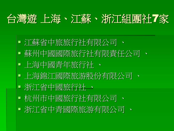 台灣遊 上海、江蘇、浙江組團社