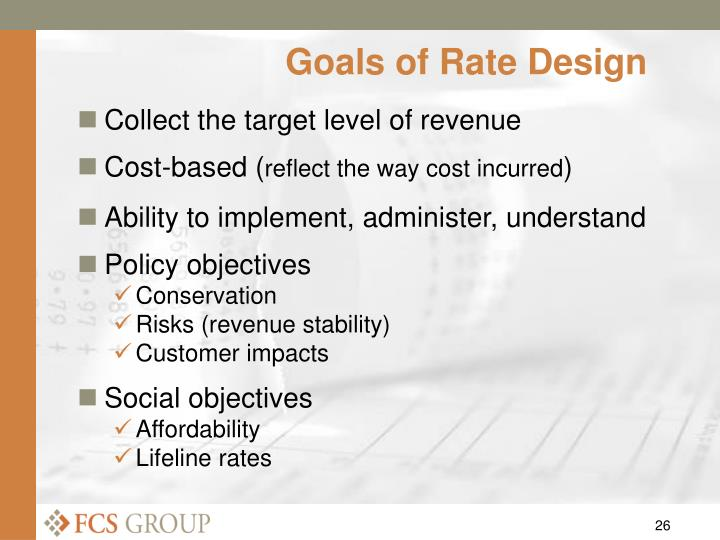 Goals of Rate Design