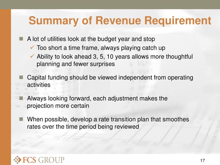 Summary of Revenue Requirement
