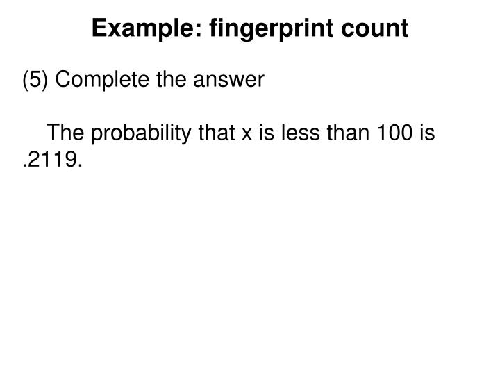 Example: fingerprint count