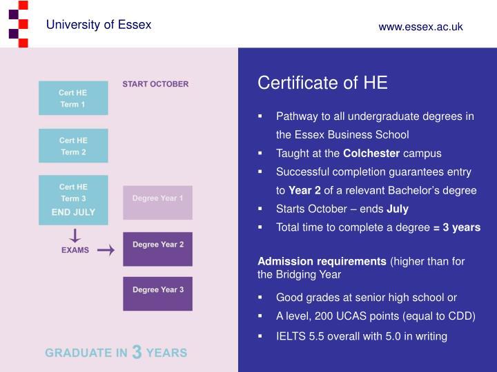 Certificate of HE
