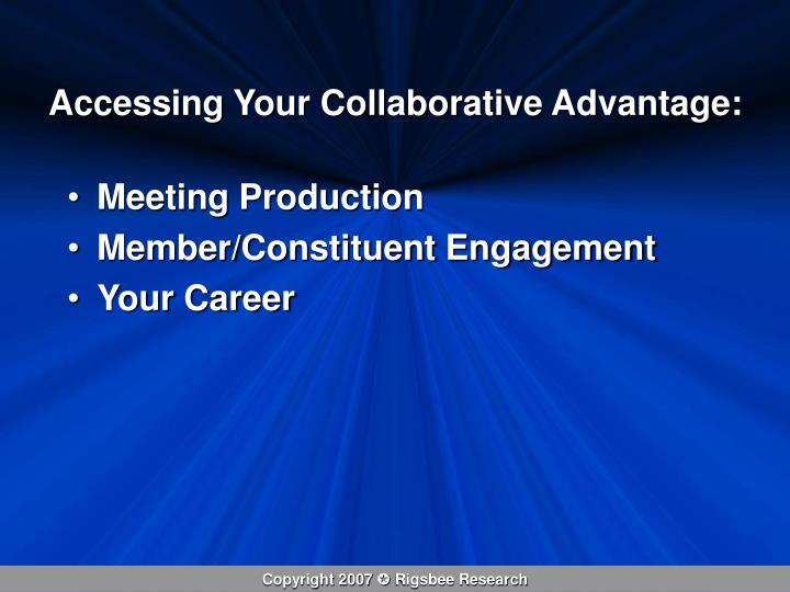 Accessing your collaborative advantage
