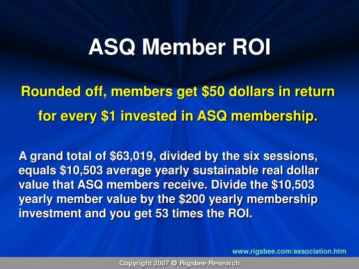 ASQ Member ROI
