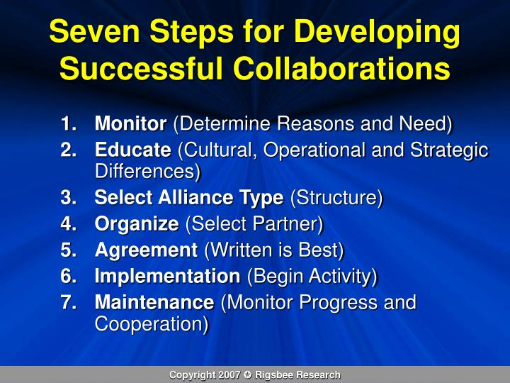 Seven Steps for Developing Successful Collaborations