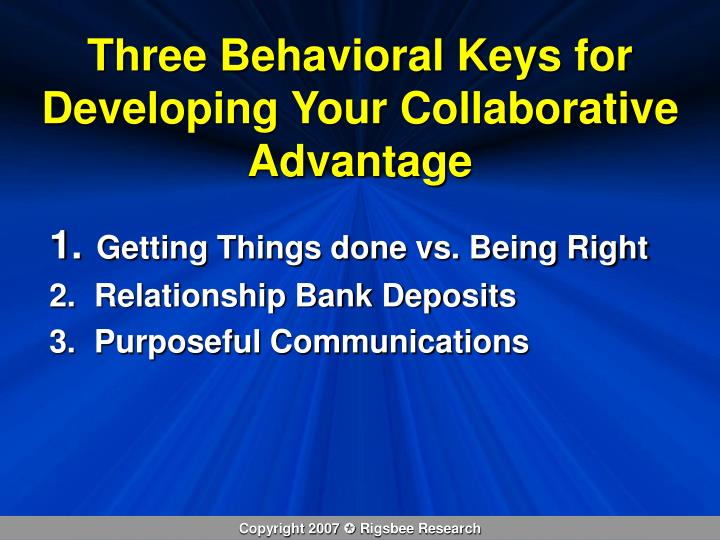 Three Behavioral Keys for Developing Your Collaborative Advantage