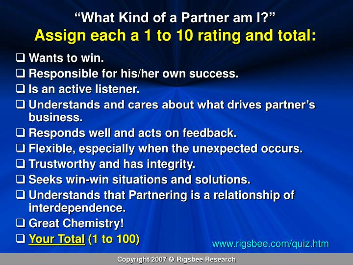 """""""What Kind of a Partner am I?"""""""