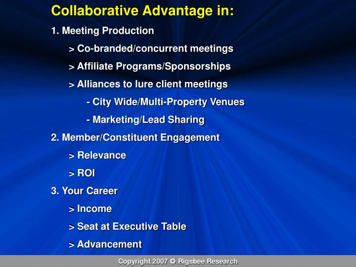 Collaborative Advantage in: