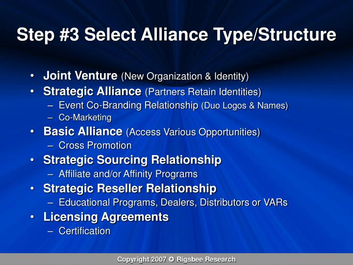 Step #3 Select Alliance Type/Structure