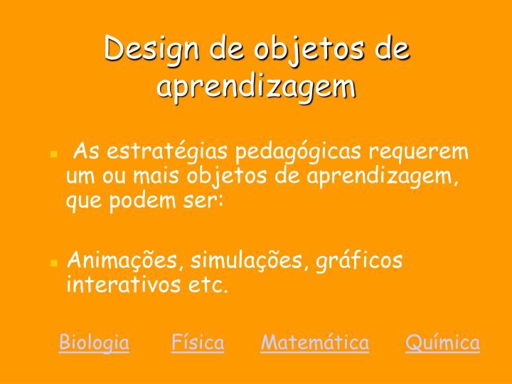Design de objetos de aprendizagem