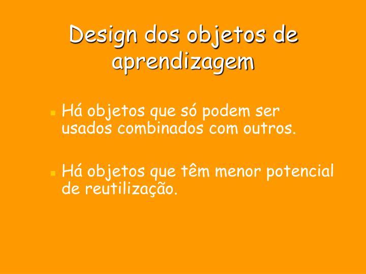Design dos objetos de aprendizagem