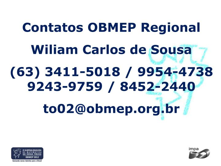 Contatos OBMEP Regional