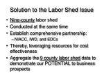 solution to the labor shed issue
