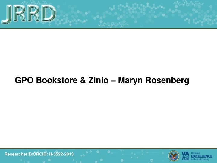 GPO Bookstore & Zinio – Maryn Rosenberg