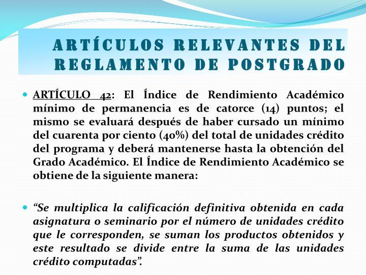Artículos relevantes del Reglamento de postgrado